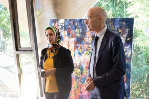 The Fondation Orient-Occident Programs Coordinator Nadia Tari with the Commissioner during the UNHCR visit