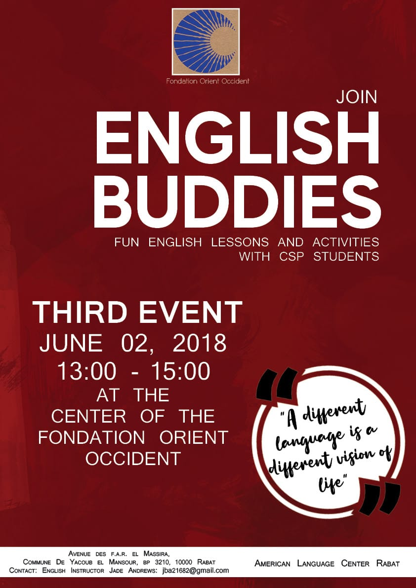 English Lessons and activities, 3rd event organized at the Fondation Orient-Occident of Rabat!