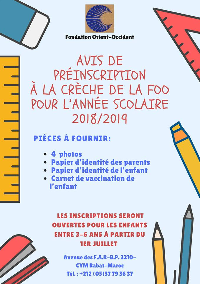 Inscriptions à la crèche pour l'année scolaire 2018-2019 – Enrollment for the year 2018-2019 to the Fondation Orient-Occident's nursery