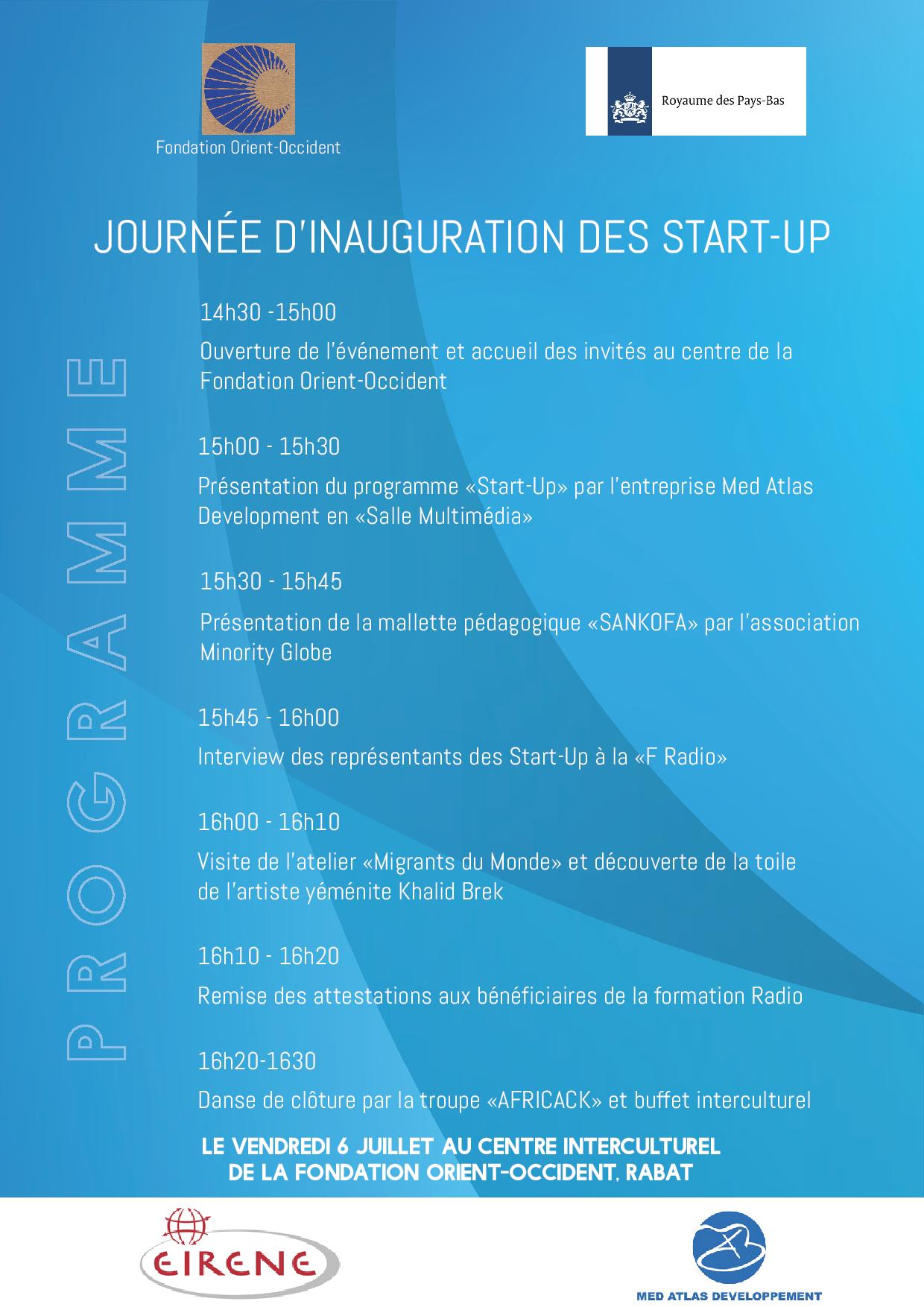 July 6, 2018 – Start-ups Inauguration Day – the program