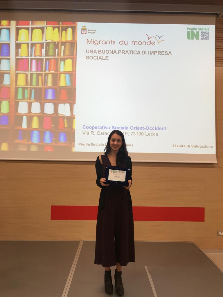 The project Migrants du Monde has been recognized the 2nd most innovative social project and was awarded by PugliaSociale IN and the Regione Puglia