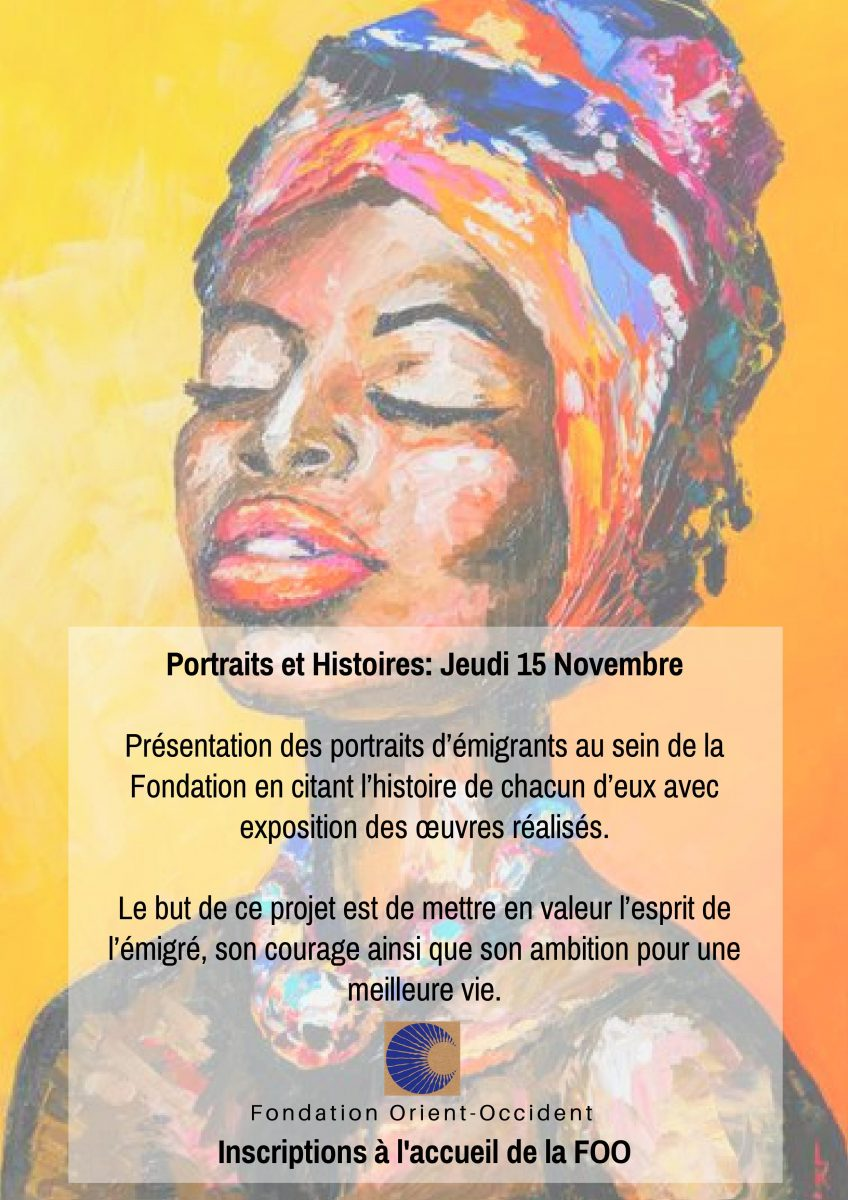 Atelier «Portraits et Histoires» le 15 Novembre à la Fondation Orient-Occident de Rabat