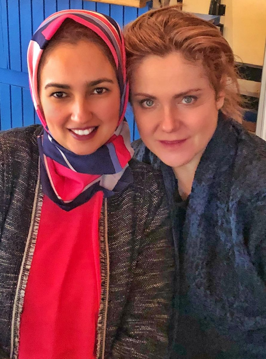 Bruna Pizzichini, the new artistic director for Migrants du Monde in Italy and Morocco, with Nadia Tari, projects coordinator in Rabat