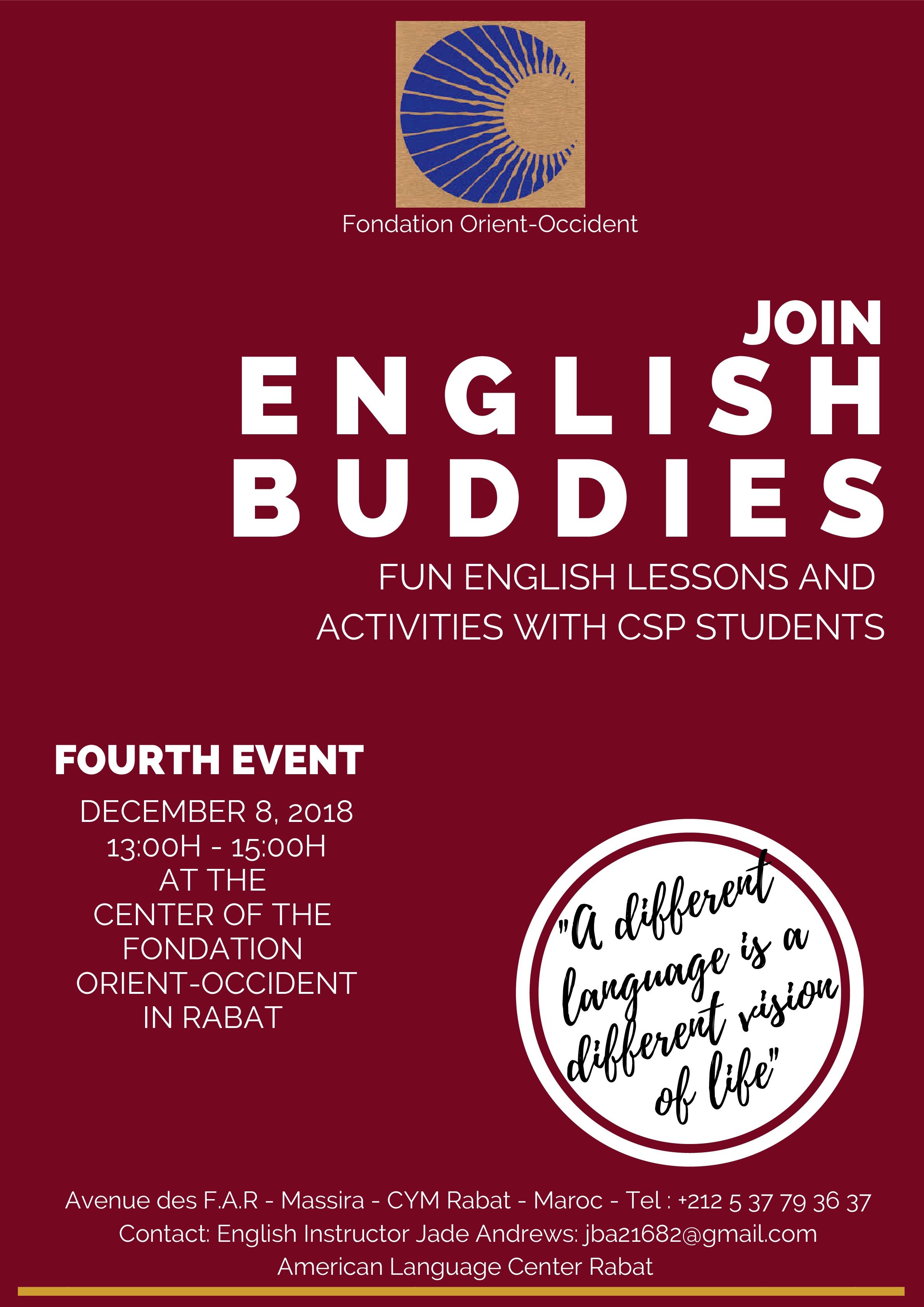 Anglais pour tous: 4ème édition d'ENGLISH BUDDIES le 8 décembre, nous vous attendons!