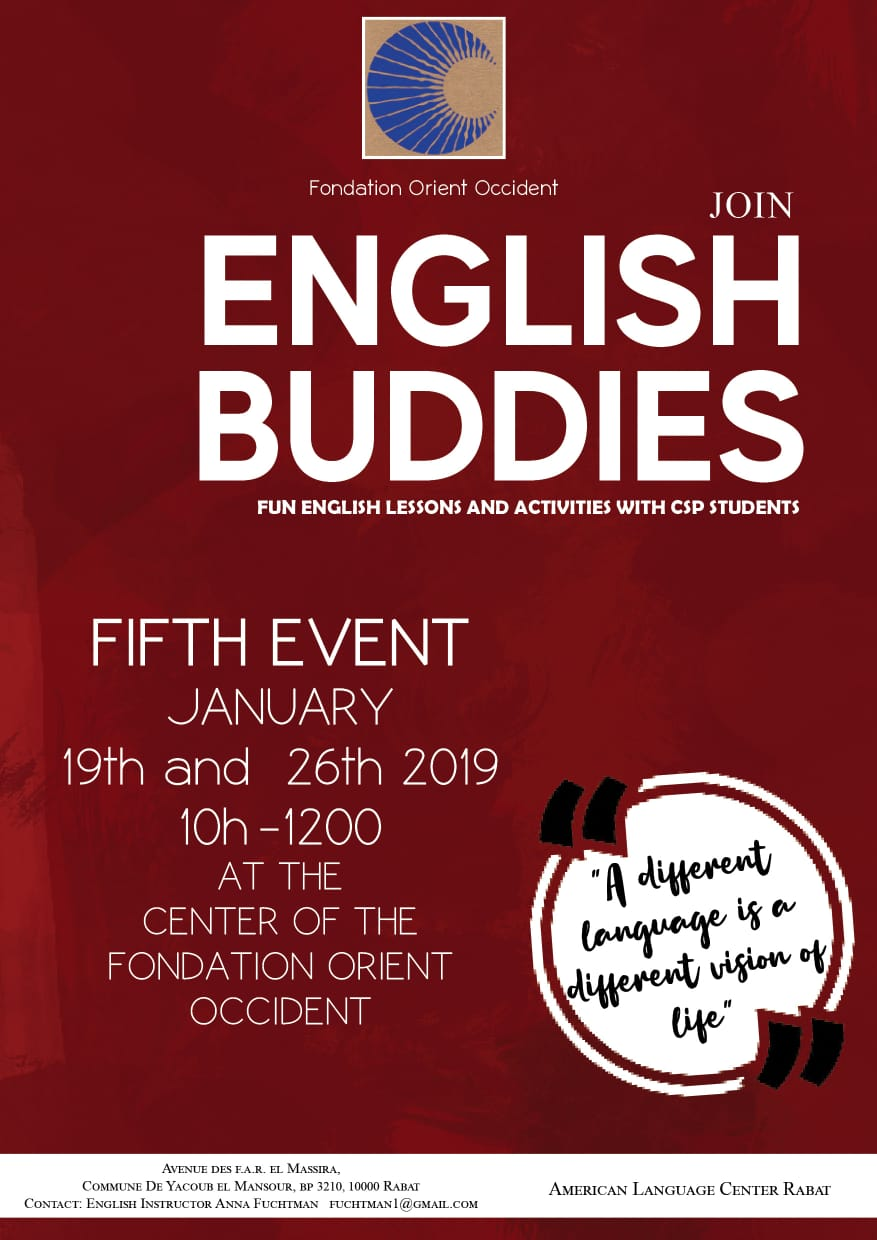 Come to English Buddies on the 19th of January!