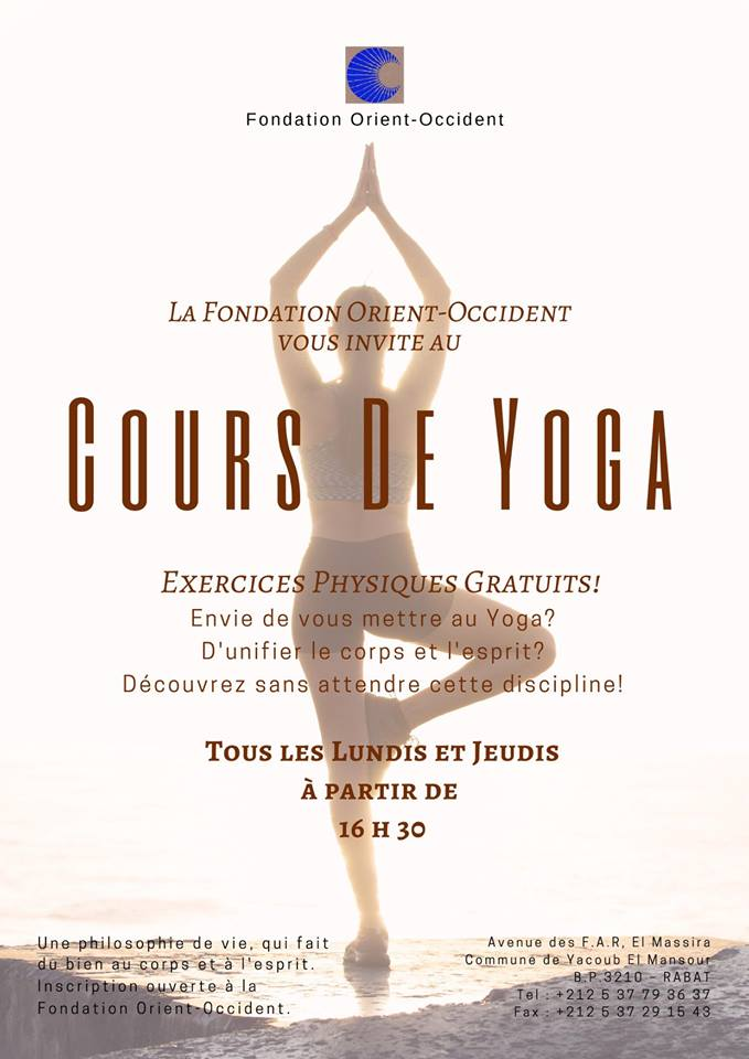 Free Yoga classes every Monday and Thursday at the FOO of Rabat