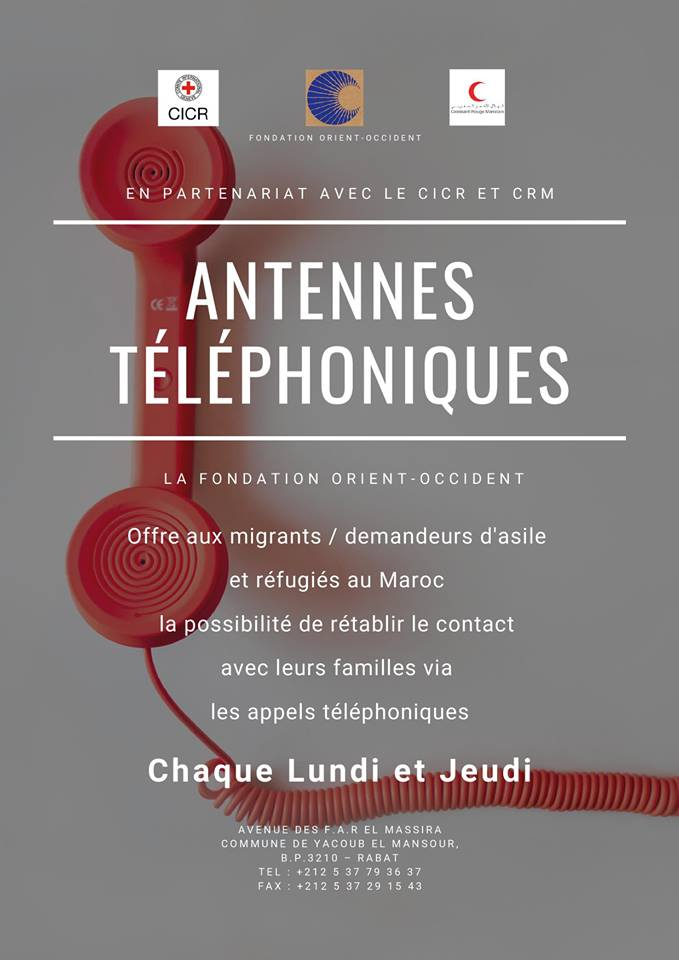 The Fondation Orient-Occident offers migrants / asylum seekers and refugees in Morocco the opportunity to reconnect with their families through telephone calls – Every Monday and Thursday