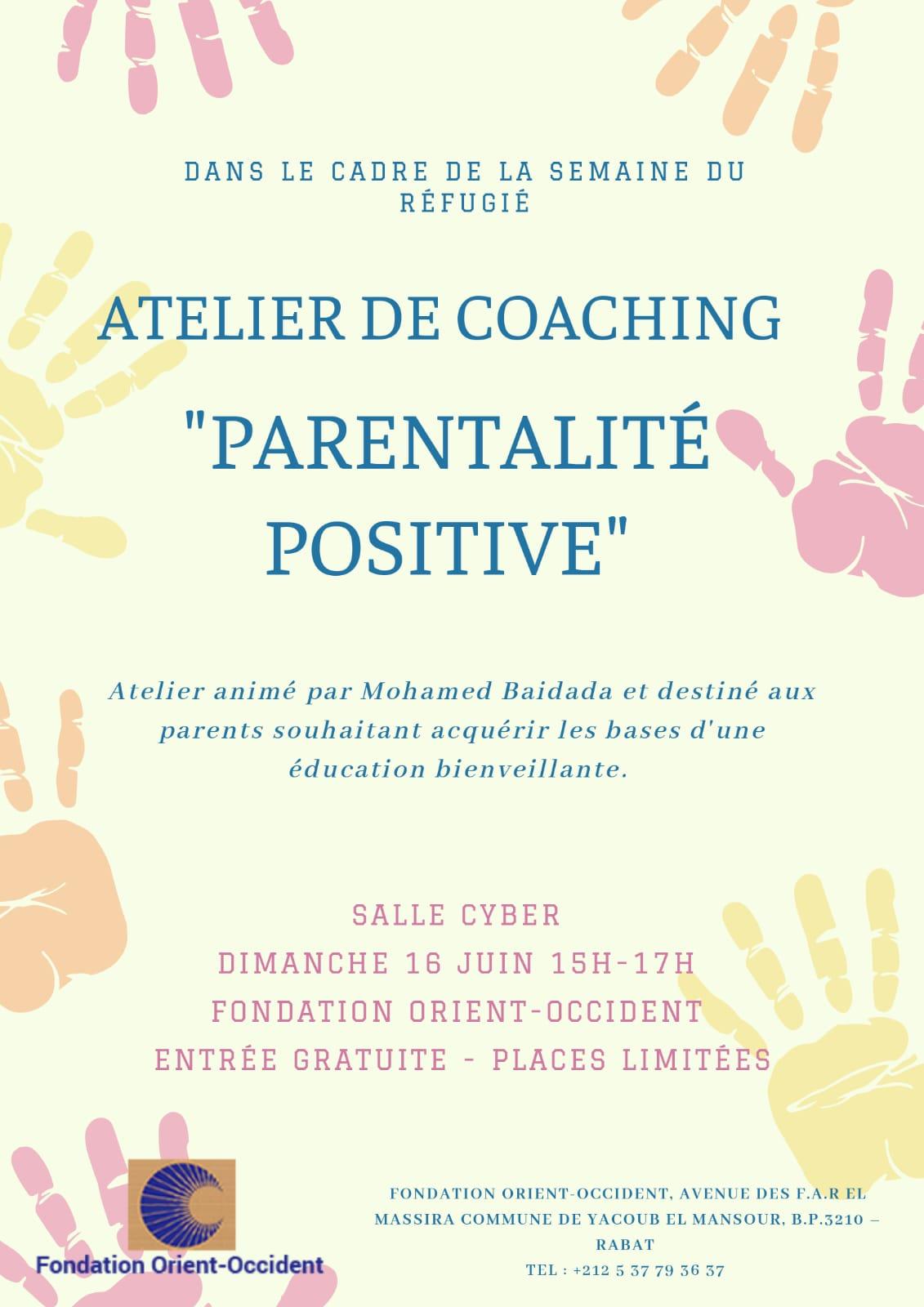 Atelier de coaching – «Parentalité positive», organisé par la Fondation Orient-Occident dans le cadre de la semaine du réfugié