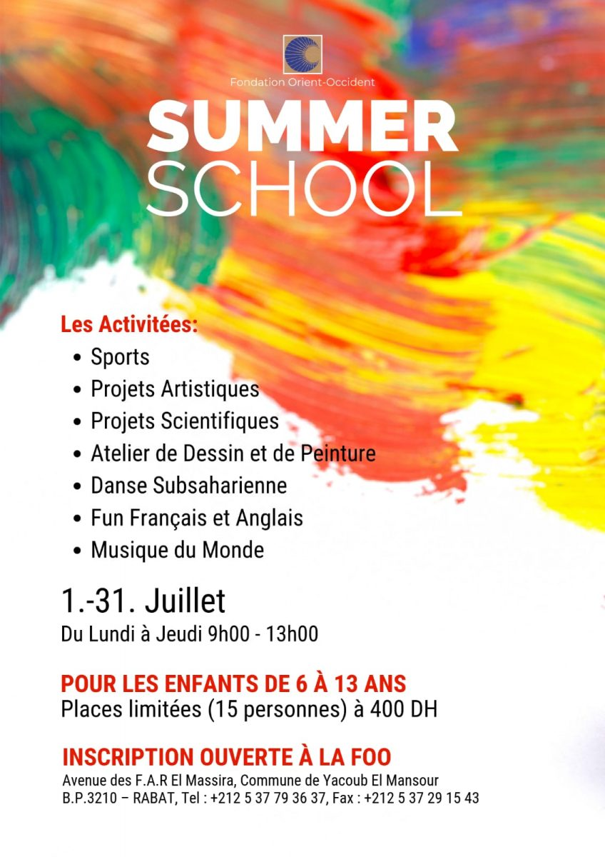 Now live at the Fondation Orient-Occident of Rabat: summer school for kids!