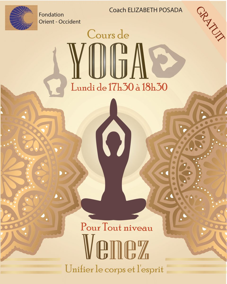Reminder: YOGA course at the Fondation Orient-Occident in Rabat, every Monday
