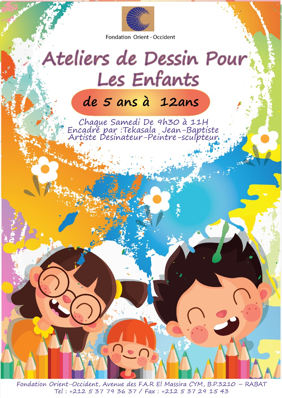 Drawing workshops for children at the Fondation Orient-Occident of Rabat