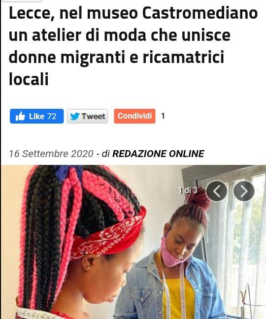 La presse italienne parle du projet Migrants du Monde dans la ville de Lecce – Italie.