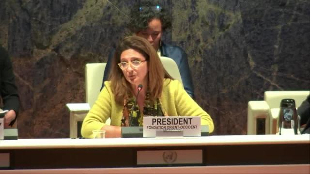 Yasmina Filali, President of the Fondation Orient-Occident, panelist at the Opening Plenary of the UNHCR's 10th High Commissioner's Dialogue on Protection Challenges (12-13 December 2017)
