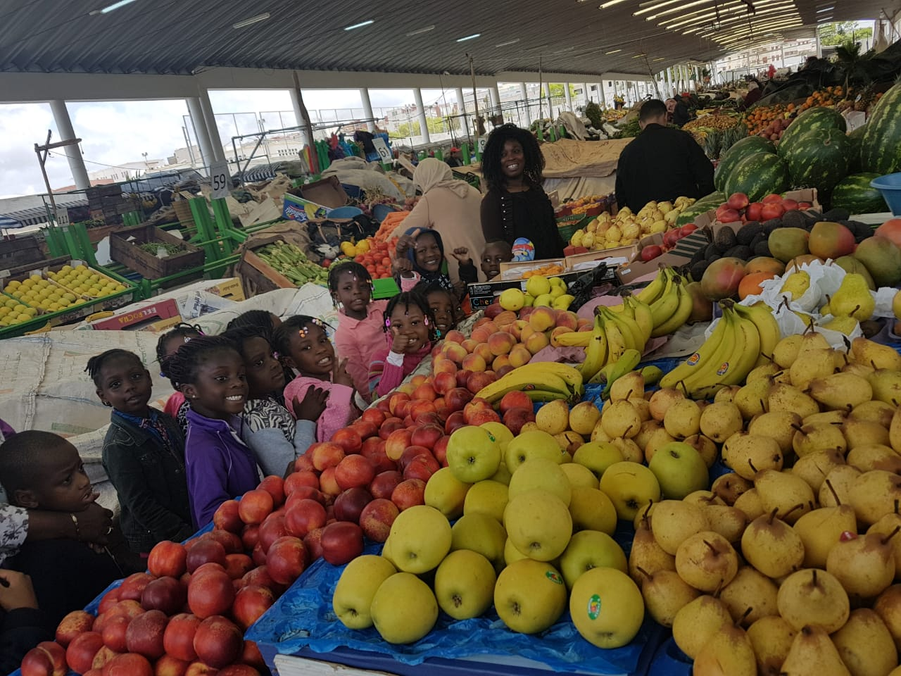 The children of the Kindergarten's visit to the Local Market – for the illustration of the theme of the month FRUITS AND VEGETABLES