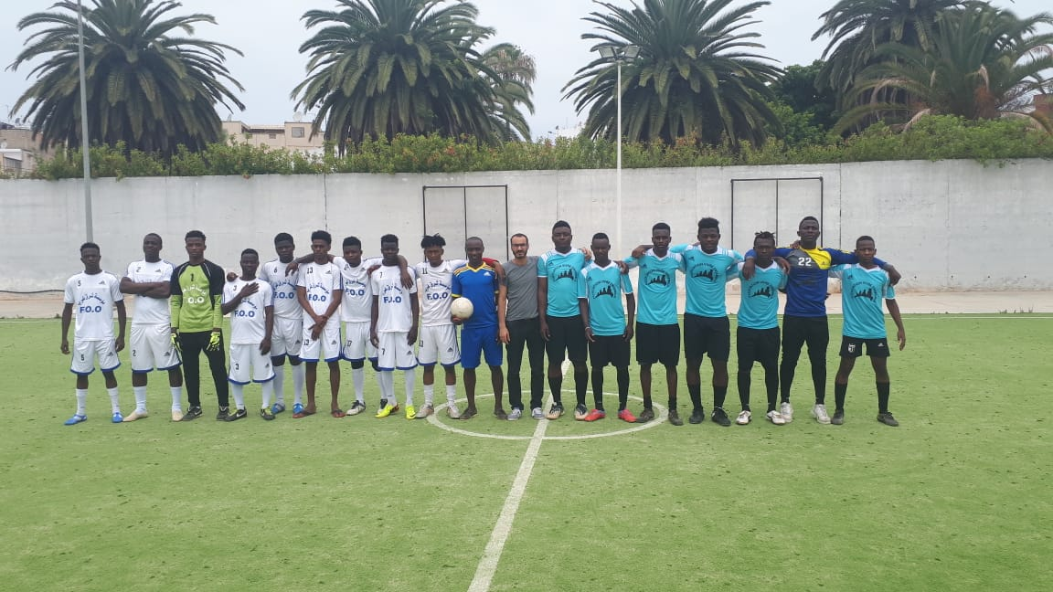 "The Final Match between the ""association vivre ensemble"" team and the ""refugees of Fondation Orient-Occident"" team – organized in occasion of the Refugees week in Rabat"