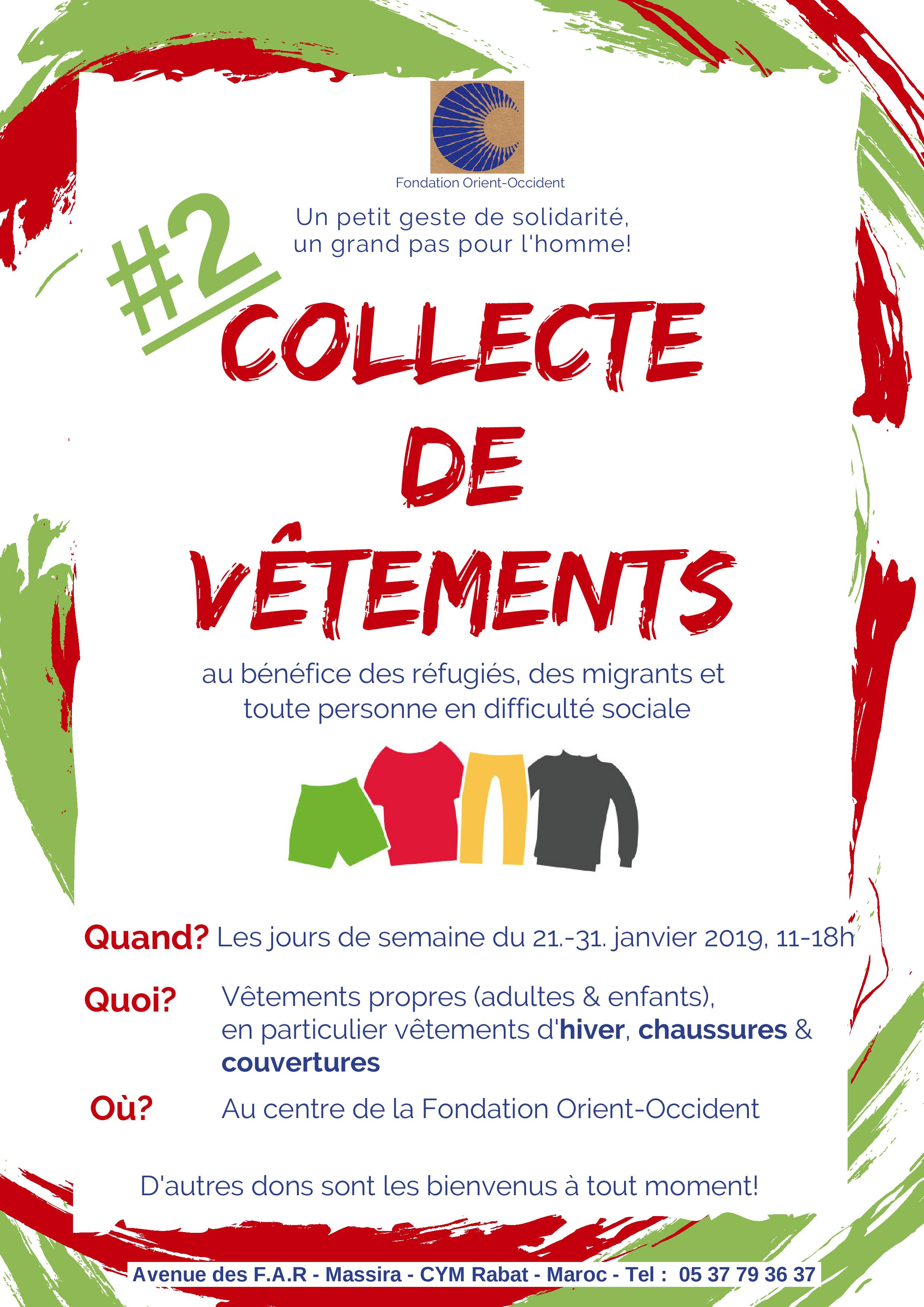 Second collection of clothes at the Fondation Orient-Occident of Rabat