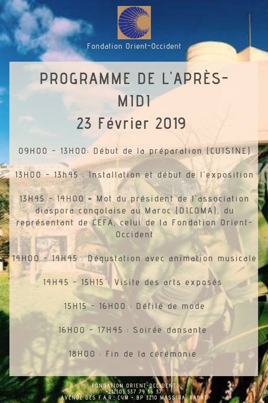 The program of the intercultural afternoon that will take place this Saturday, February 23 at the Foundation, in collaboration with the association Diaspora Congolaise in Morocco