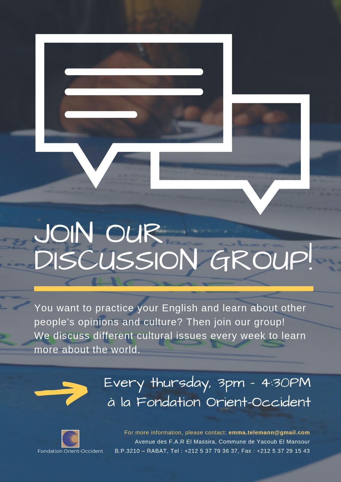 Groupe de discussion à la Fondation Orient-Occident: tous les jeudis de 15h à 16h30