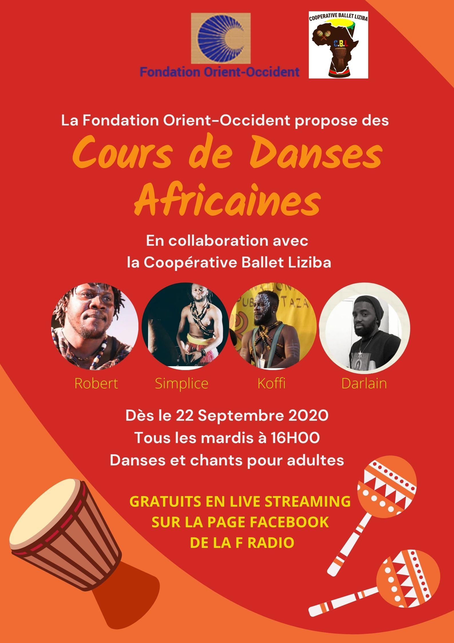 Cours de danse africaine à la Fondation Orient-Occident en collaboration avec la Coopérative Ballet Liziba