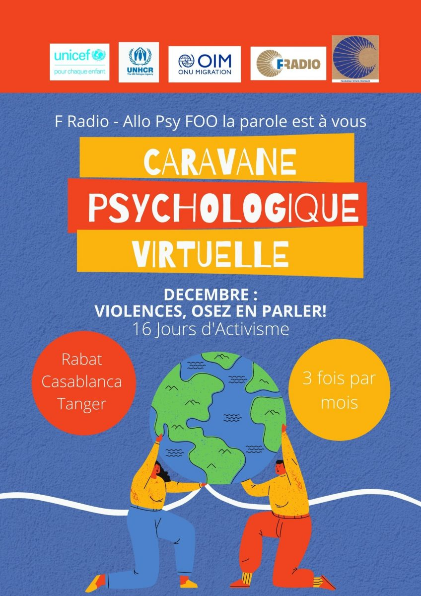 The Fondation Orient-Occident has launched a psychological caravan on the F Radio (the radio of Fondation Orient-Occident)