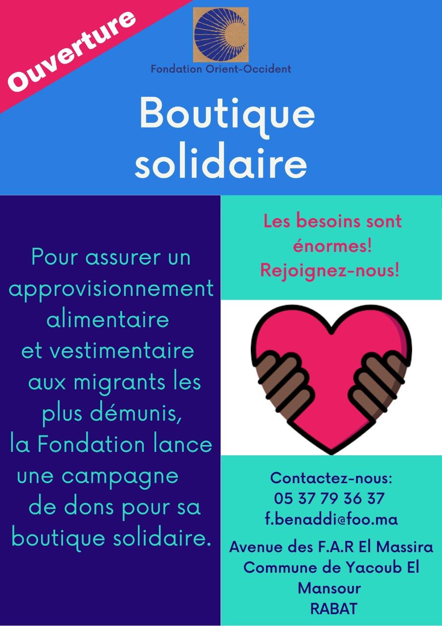 Ouverture d'une Boutique Solidaire – Appel aux donations