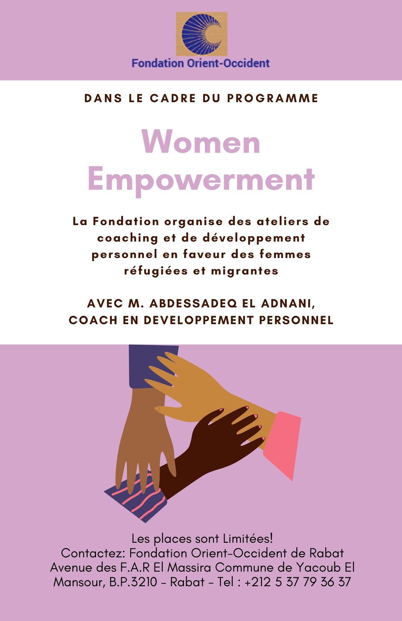 Séances des coaching et de développement personnel en faveur des femmes réfugiées et migrantes – FOO Rabat