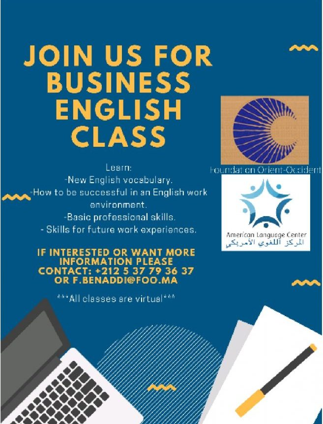 Business English class at the Fondation Orient-Occident of Rabat