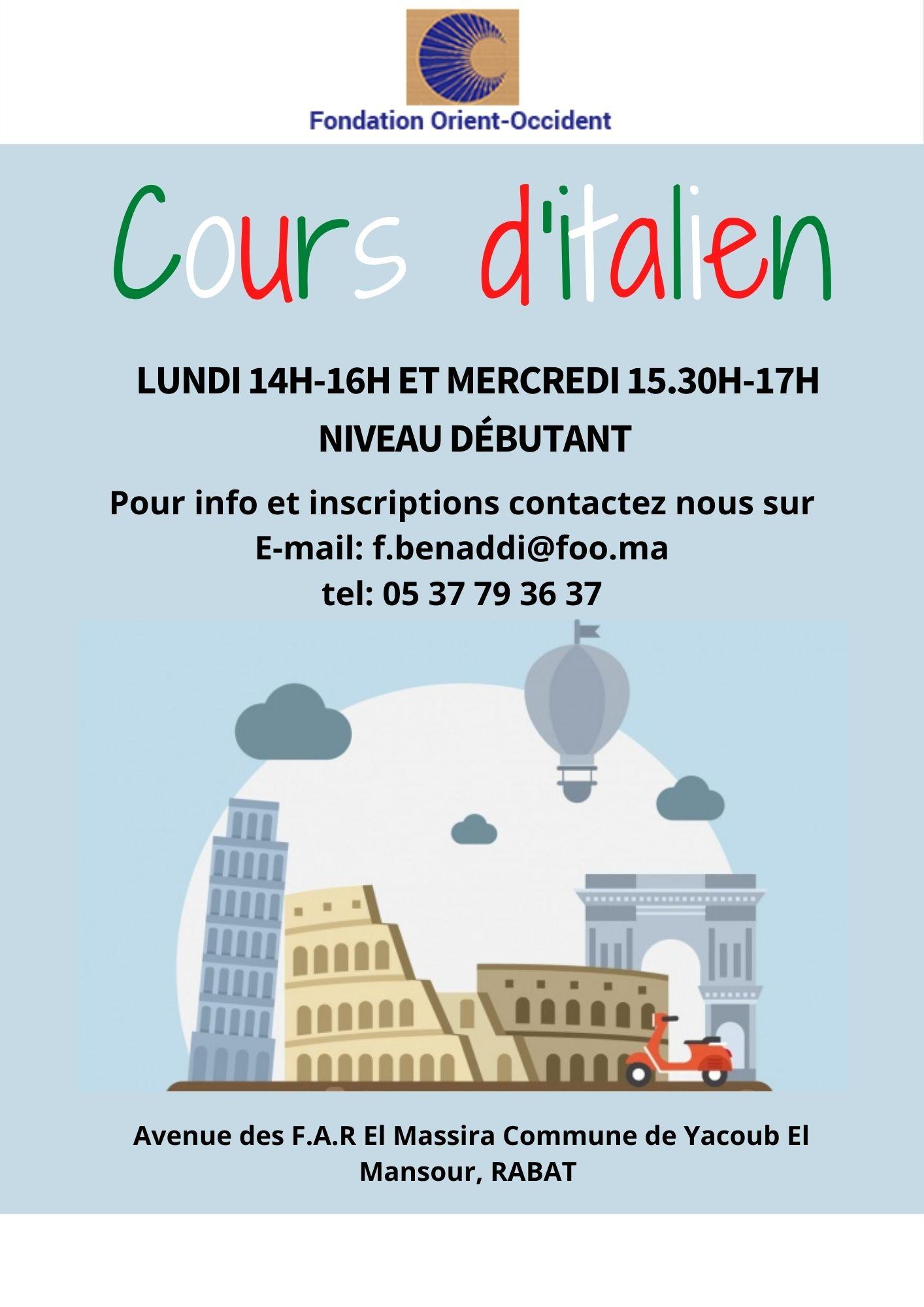 La Fondation Orient-Occident de Rabat organise des cours d'italien